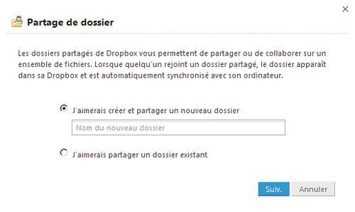 Ajout partage Dropbox