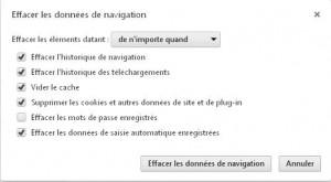 Fenêtre option suppression caahe Goggle chrome